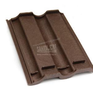 Черепица полимерпесчаная цвет Темно-коричневый обратная сторона